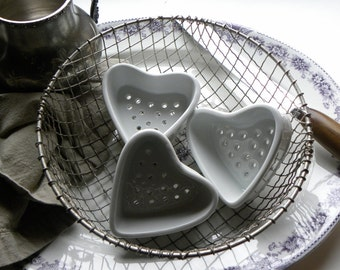 Antique Rare FRENCH Bakery Very Fine Ironstone Porcelain Pierced Cutout Pattern HEART Cheese Strainer, Sieve, Dessert Mold, Thicker Walled