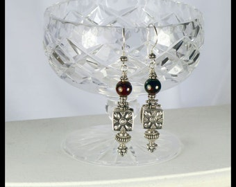 Dangle Earrings: Garnet and Sterling Silver.  Large decorative sterling silver.  Ethnic style. Exotic. Far East. Tribal. Red gemstones. OOAK