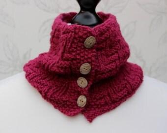 Raspberry Knit Cowl, Buttoned Cowl, Button Cowl, Patterned Neckwarmer, Zig-zag Patterned Cowl, Womens Winter Scarflette, Winter Accessory