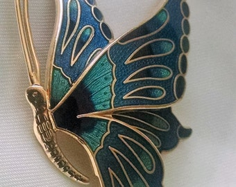 Brooch Butterfly Big Bold Cloisonne Enameled Blue Aqua Gold Exotic Bohemian Runway Chic Signed Statement Piece Unusual Profile Image