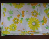 Vintage Pillowcase in Yellow and Orange Floral Pattern Free Shipping Green Leaves Strawberries Linens Bedding Pillow Sham Case Bed