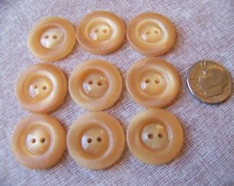 "Set of 9 Vintage Tan Mid Century Shiny Plastic Sew Thrus 3/4"""
