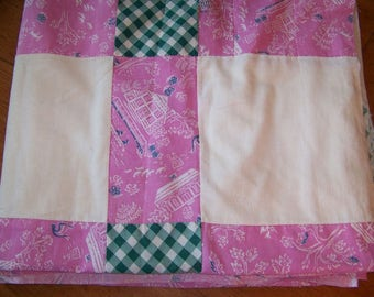 "Vintage Feedsack Quilt Top 74"" x 88"""