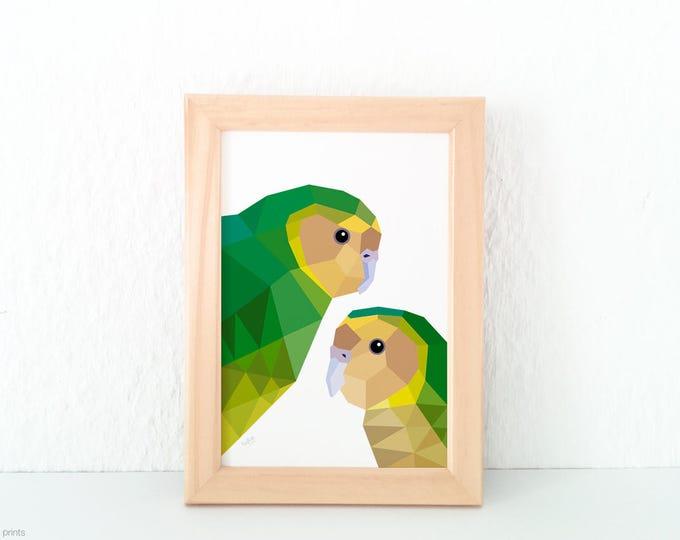 Kakapo print, New Zealand bird art, Native NZ bird art, Kiwi art, New Zealand made, New Zealand gift, Green yellow print, NZ home decor