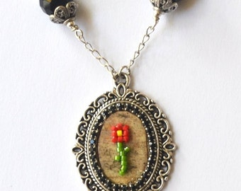 New Price - Birch Bark Beaded Flower Necklace Collection- Red with Black Faceted Glass
