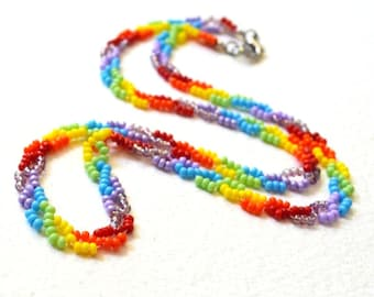 Rainbow Necklace - Beaded - Rainbow Jewelry - Free Shipping