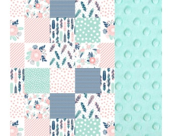 Baby Blanket Pink Mint Navy Feather Patch Carseat Blanket Crib Blanket Girl Feather Minky Blanket