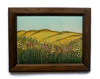 Fiber Art Framed textile Wall hanging Embroidered picture