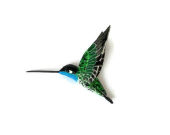 Hummingbird Art Paper mache Bird Sculpture Colibri figurine