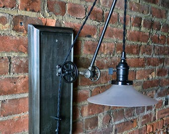 Pulley Wall Sconce - Industrial - Adjustable - Steampunk - Plug-in - Pulley Light - Pulley Lamp - Vintage Style Light