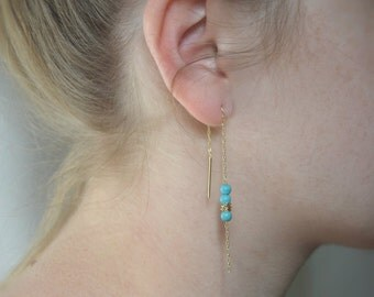 Gold threader earrings, Everyday earrings, Howlite earrings, Thin chain stick earrings, Dainty gold filled earrings, String earrings