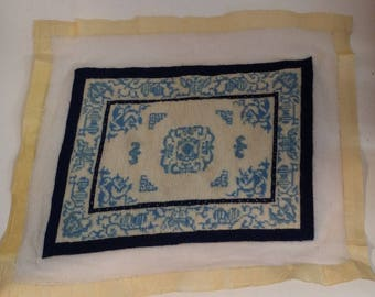 Vintage Handmade Dollhouse Petit Point Oriental Rug -- Blue and Cream, 10 by 7.5 Inches, 1:12 Scale, Beautiful but Unfinished and Crooked