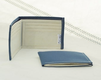 Sapphire Blue, Upcycled Canvas, Bifold Wallet, Recycled Sail cloth, eco friendly,