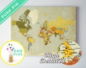 Canvas Push Pin World Map Vintage Colors - Ready to Hang - High Detailed - 240 Pins Included - Gift for travel