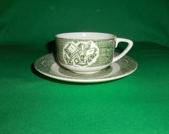 """One (1), 2"""", Flat Teacup & Saucer, from Royal (USA), in; The Old Curiosity Shop Green Pattern."""