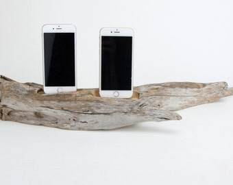 Docking Station for 2 iPhones, iPhone dock, iPhone Charger, iPhone Charging Station, driftwood dock, wood iPhone dock/ Driftwood-No. 941