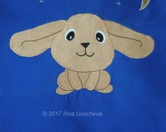 "Rabbit cushion pillow cover  ""Adorable Bunny"", handmade, appliqued, pet, animal"