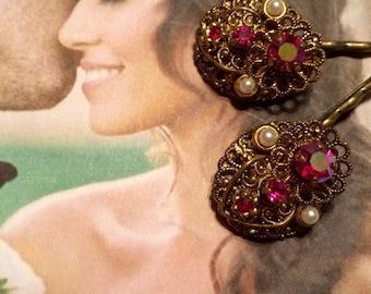 HOLIDAY SAVINGS Decorative Hair Pins Bridal Jewelry 1940 Red Ruby Filigree Hairpins Bobby Pins