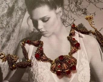 HOLIDAY SAVINGS Vintage Bridal Necklace 1930 1940 Red Ruby Art Deco Czech Czechoslovakia Filigree Enamel Choker