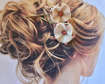 Decorative 30's Pink Rhinestone Celluloid Hair Bobby Pins, Artisan Recycled