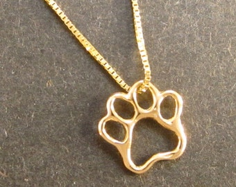 Lg. Gold Paw pendant, 14k large paw necklace, solid gold, recycled gold, handmade in USA