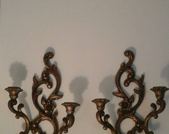 Vintage Pair Wall Sconce Syroco Candle Holders---ornate gold tone