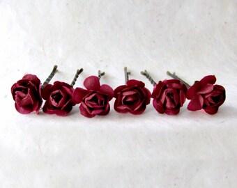 Wine Red Bridesmaid Hair Accessories. Burgundy Flower Hair Pins. Deep Red Rose Bobby Pins. Paper Flower Hair Pins.  Red Bridal Hair Clips