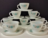 RESERVED For KIM: Vintage Bonnie Blue Flower Fire King Coffee Tea Cup And Saucers 16pcs 8 Sets Bonnie Blue Flower