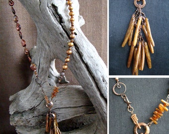 Golden Hawaiian Coral and Copper Necklace