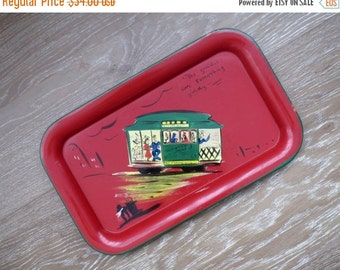 50% SALE San Francisco Folk Art Red Painted Metal Tray from 1948