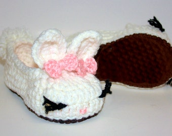 Suede Bunny Slippers - Bunny Slippers - Baby House Slippers - Baby Crochet Shoes - Crochet Infant Boots - Baby Girl Shoes - Knitted Slippers
