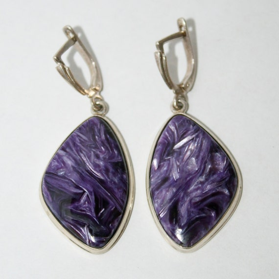charoite silver earrings russian jewelry free shipping