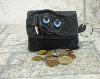 Leather Zippered Coin Purse Black Change Purse Monster Face Pouch Key Ring Harry Potter Labyrinth