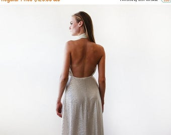 Spring Sale Light metallic gold halter-neck maxi gown, Backless maxi gold dress 1070.