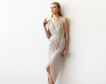 Wrap Tulip Champagne Dress with V Neckline 1154
