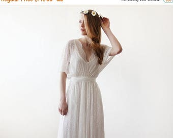 30% OFF - Blush Birthday Floral Lace maxi sheer gown, Country wedding lace dress, Ivory Lace maxi wedding dress 1044