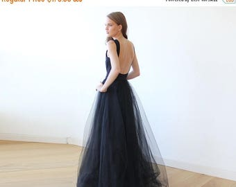 30% OFF - Blush Birthday Black open back maxi tulle dress, Low back tulle gown 1086