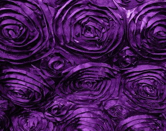 Satin Rosette Purple 52 Inch Fabric by the Yard - 1 yard
