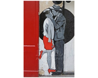 Kissing Photo, Paris Street Art, Anniversary Gift, Valentine's Day, I Love You, Paris Photography