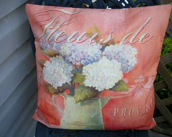Fleurs de Provence French Hydrangeas Pillow Cover, 18 x 18  Pillow Cover, French Chic Paris French Farmhouse Home Decor