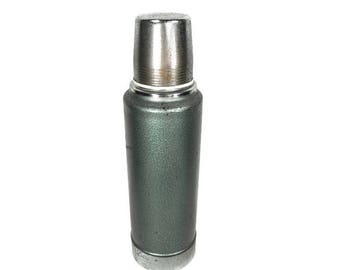 Vintage Stanley Thermos - Retro Aladdin Stanley Thermos, 1960's Hammered Green Thermos, Mid Century Stanley Thermos, Industrial Thermos