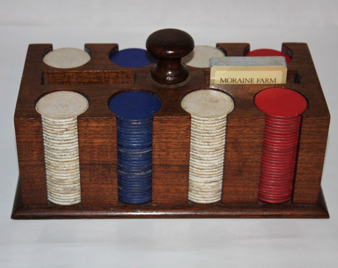 Mid-Century Modern Vintage Poker Chip Caddy with Clay Poker Chips and Playing Cards from Moraine Farm Dayton Ohio