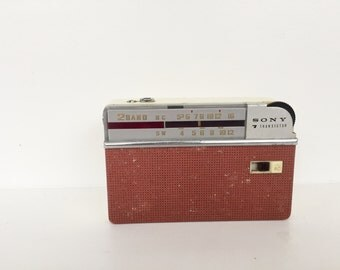 Sony little vintage retro transistor radio. Collectible. Made in Japan. 1950s.