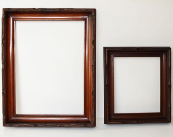 ADIRONDACKS! 2 Phenomenally Super Hand Carved Antique Rustic Solid Wood Frames in Extraordinary Condition Ready to Use!