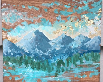 Original Mountain Painting on Wood // 'Alpine Sunset'