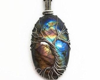 Tree of life pendant, Spectrolite pendant,  Wire wrapped tree of life, Tree of life on spectrolite, Labradorite jewelry