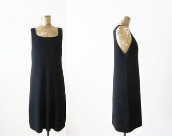 90s Dress / 90s Minimalist / DKNY Black Wool Knit Dress / Jumper Dress / Grunge Dress