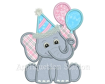 Birthday Elephant with Party Balloons Applique Machine Embroidery Design INSTANT DOWNLOAD