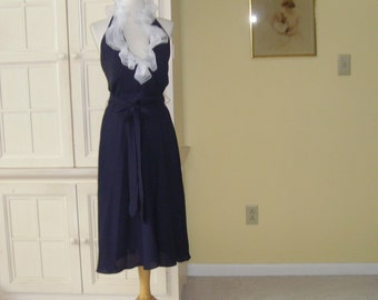 60's, navy blue cocktail dress, halter style bodice, triple white ruffle at neckline, Morton Myles designer, low back , new(dead stock)