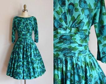 50s Mystery Bloom dress / vintage 1950s rose daydress/ floral full skirt sundress